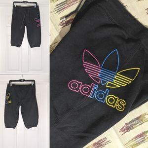 Retro Adidas Crop Hem Shorts Trefoil Tricolor